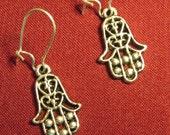 HAND OF FATIMA Evil Eye Amulet Earrings, leadfree tibetan silver, hamsa