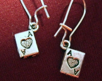 SALE Mini POKER FACE Earrings w/ 3-d Ace of Hearts Playing Card Charms in Tibetan Silver,leadfree, convenient silverplated kidney earwires