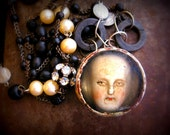Lullaby Vintage Found Art Resin Frozen Charlotte Rosary Necklace
