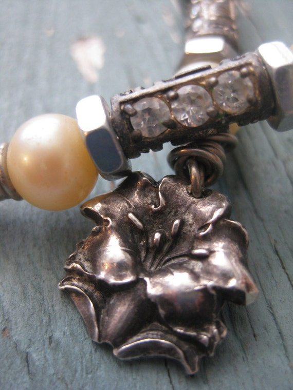 Handmade Sterling Silver Vintage Catholic Flower Earrings with Pearls and Rhinestones