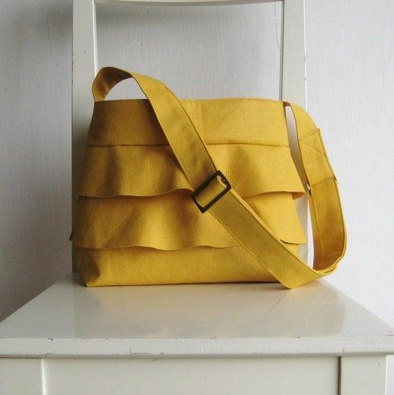 Ruffled Yellow Handbag - Crossbody