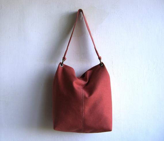 Vegan Suede Coral Shoulder Bag