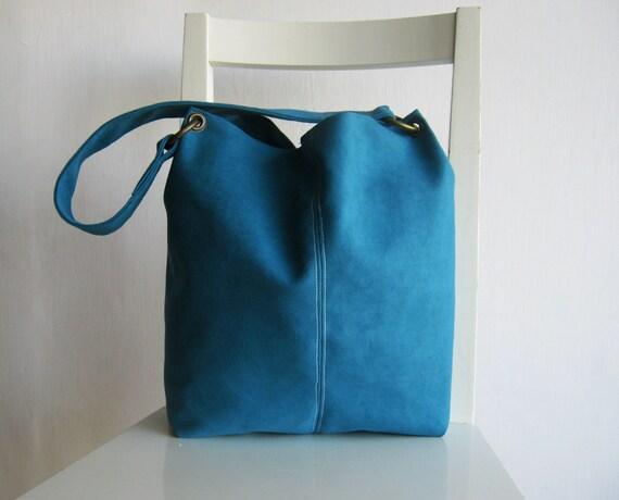 Vegan Suede Turquoise Shoulder Bag