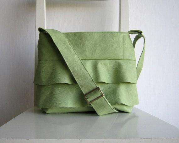 Ruffled Pale Green Bag - Crossbody