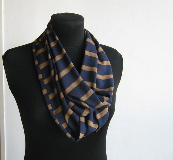 Infinity Scarf - Lightweight Handmade Cotton  Circle Scarf - blue and brown stripes.