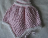 Little Pink and  White ------------Baby Pixie Hat