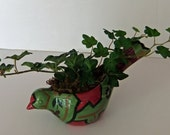 Little Bird Planter with Artificial Ivy Plant