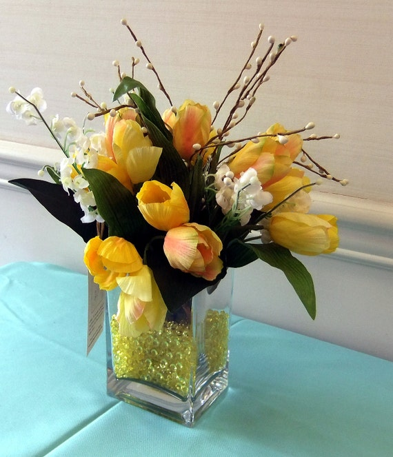 Contemporary Yellow Tulips Flower Arrangement With Decorative