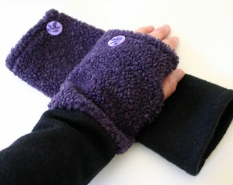 Women/girls purple faux fur fingerless gloves with a black fleece cuff.