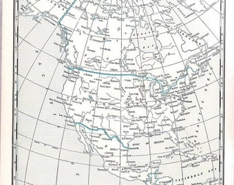 Old map of North America and the World