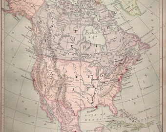 1884 Map of North America, Political