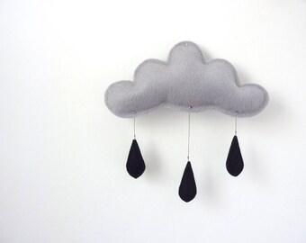 Grey Cloud mobile with black raindrops....rain cloud Stormy sky