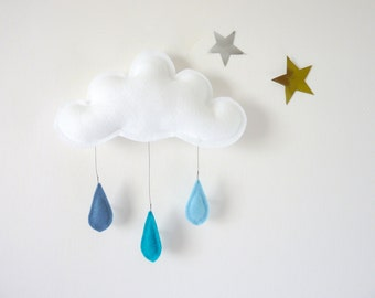 Cloud mobile-baby boy gift-baby gift-baby boy-blue nursery-blue baby shower-nursery mobile-kawaii-cloud decor-cloud-nature nursery décor