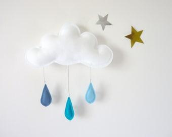 Cloud mobile- raincloud... Rain of colors....light blue-turquoise-blue felt raindrops.