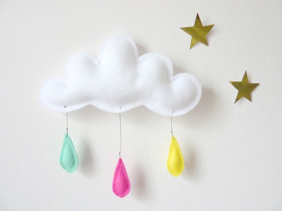 Cloud mobile.... Rain of colors....Mint-Pink-Yellow...drops