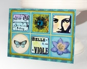 Blue Green Inchie ACEO OOAK (Blue Bohemia) Butterfly, Paris, Face, Flower