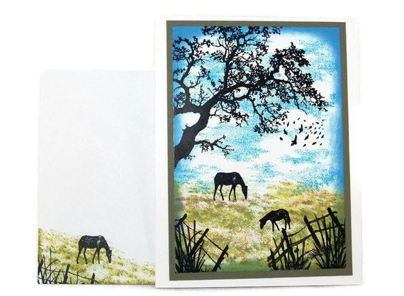 Horses Pasture OOAK Blank Card (Quiet Times - Horses) Blue, Green