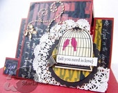 love birds contemporary anniversary card