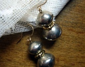 Tarnished Silver Tone and Gold Plated Earrings with Gold Filled Wire - Tarnish and Glory