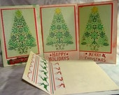Embossed Holiday Tree Cards- set of 5 cards with envelopes