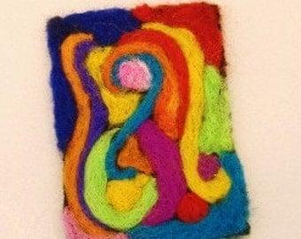 Rainbow Swirls Needle Felted ACEO