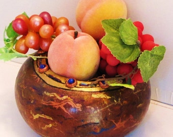 Dyed, Embossed, Fibered and Buttoned Gourd Bowl