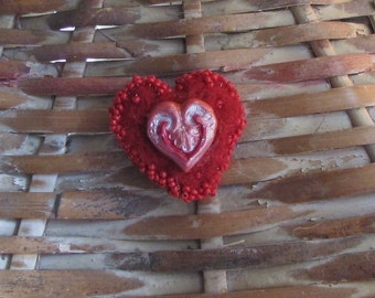 Red Heart Pin/Needle Felted and Beaded