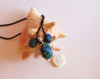 Green, Purple, and Blue Polymer Clay Necklace/Earring Set