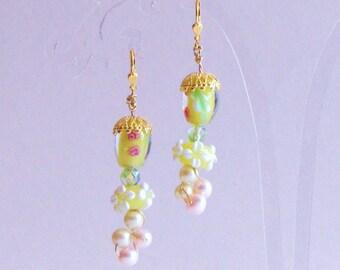 Lampwork and Pearls Earrings