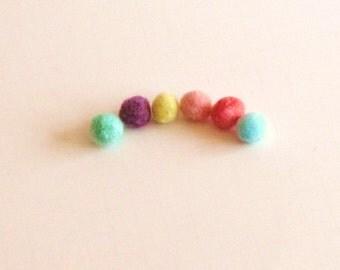 Set of 6 Pastel Needle Felted Beads