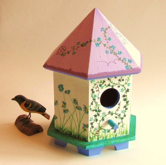 Summer Cottage Wooden Hand Painted Birdhouse