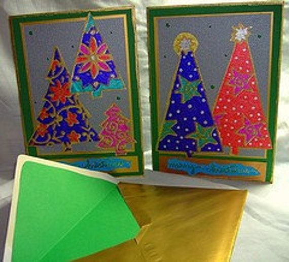 A Little Bling Holiday Tree cards - set of 5 cards w/ envelopes