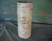 7 3/4 inch birch vase customized with your initials and a date