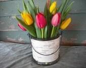 Bucket syle birch bark glass vase. Wonderful wedding centerpiece for your spring nature themed wedding.