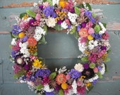 Handmade colorful spring dried flower garden wreath. All natural.