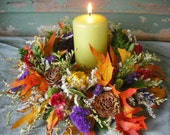 Set of 5 Dried flower candle ring or wreath centerpiece for your fall autumn nature themed wedding.