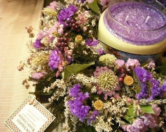Romantic lavender dried flower wreath or candle ring