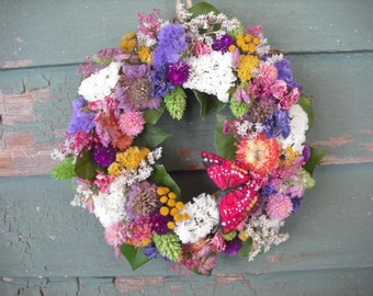 Small Handmade colorful spring dried flower garden wreath with butterfly. All natural.