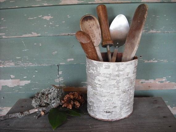 Birch Bark kitchen spoon basket or planter
