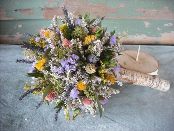 Dried flower Bridal  bouquet with Birch holder for bride or bride's maids, in pastle colors.  For your woodland natural wedding.