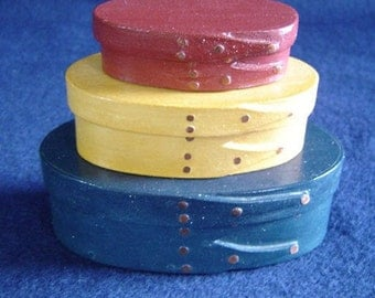No. 000, 00 and 0 Maple Painted Shaker Box Set of 3 Red/Yellow/Blue