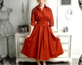 70s Classic Maxi 50s-style Shirt-dress in Terra Cotta Size XS/S