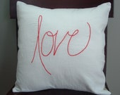 """ON SALE Love Alone  16x16"""" embroidered linen pillow cover"""