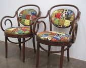 Pair of Thonet style Bentwood Chairs with Patchwork Fabric