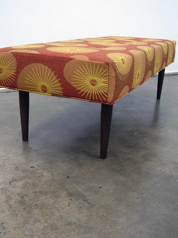 Starburst Pattern Mid Century Inspired Bench