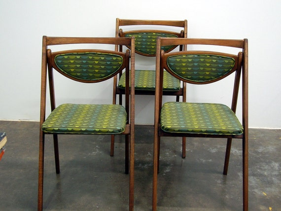Mid Century Vintage Stakmore Wooden Folding Chairs Set of 3