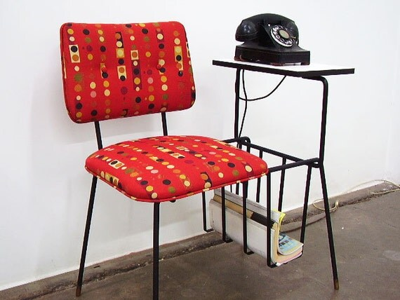 RESERVED for KAZUE Vintage Mid Century Wrought Iron Gossip Telephone Chair