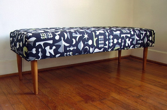 Mid Century Modern Inspired Bench with Matisse Fabric