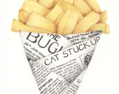 Signed limited edition print by Andrea Joseph, Chips in Newspaper Illustration A4. French Fries to go.
