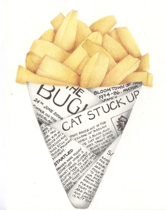 Half Price SALE!!! Signed limited edition print by Andrea Joseph, Chips in Newspaper Illustration A4. French Fries to go.